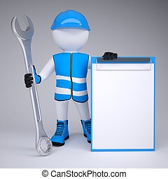 3d man in overalls with wrench