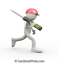 3d man in running with screwdriver