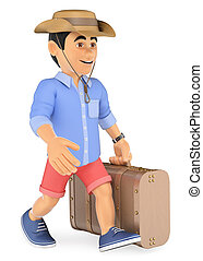 3D Man in shorts walking with a retro suitcase and a cap