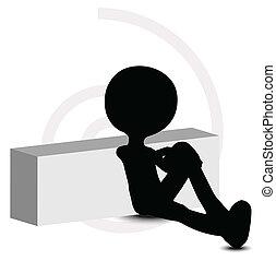 3d man in sitting pose
