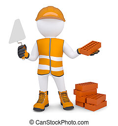 3d Man In The Form Of Building With Bricks Isolated Render