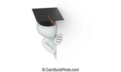 Thumbs Up! 3d man in the university graduation cap, 3d animation