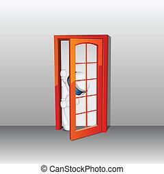 3d man in vector peeping through Door