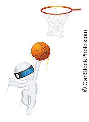 3d Man in Vector playing Basketball