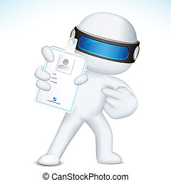 3d Man in Vector showing Identity Card - illustration of 3d...
