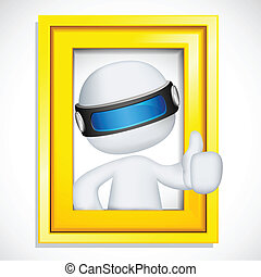 3d man in vector showing Ok sign from Photo Frame