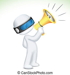 3d Man in Vector speaking in Megaphone - illustration of 3d...