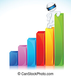 3d Man in Vector Standing on Bar Graph - illustration of 3d...