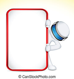 3d Man in Vector with Placard