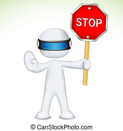 3d Man in Vector with Stop Sign