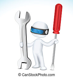 3d Man in Vector with Tools - illustration of 3d man in...