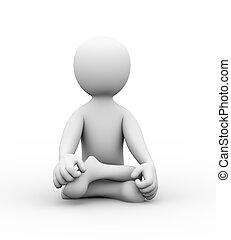 3d man in yoga position