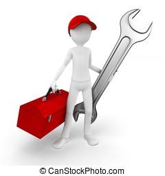 3d, man, ingenieur, met, toolbox, en, moersleutel