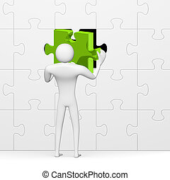 3d man inserting green missing piece in grey puzzle