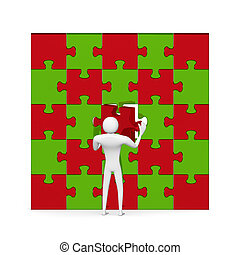 3d man inserting red missing piece in puzzle