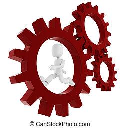 3d man inside a gear wheel