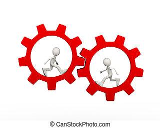 3d man inside rotating gear cog wheel