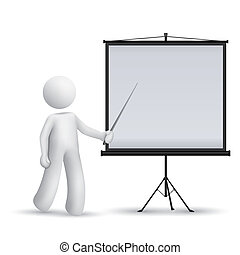 3d man introducing something at a projector isolated white background