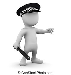 3d Man is a police officer - 3d render of a little man...