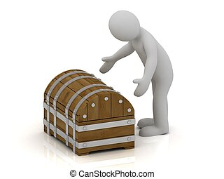 3D man is going to open a wooden chest