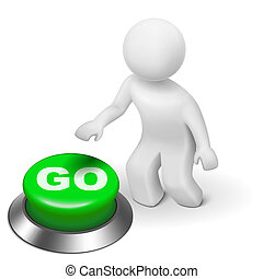 3d man is pushing the GO button isolated white background