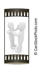 3d man isolated on black. Series: human emotions - five between two persons that celebrate a success. The film strip