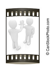 3d man isolated on white. Series: human emotions - five between two persons that celebrate a success. The film strip