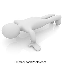 3d man isolated on white. Series: morning exercises - making pus