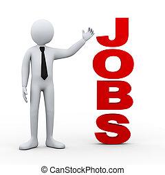 3d man jobs word presentation - 3d illustration of...