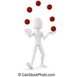 3d man jongleur, entertaining the crowd