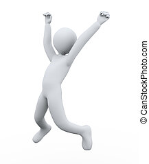 3d man joy jumping - 3d illustration of person jumping with...