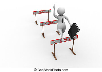 3d man jumping over a hurdle obstac