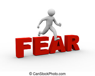 3d man jumping over fear