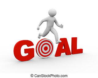 3d man jumping over goal