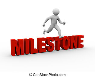 3d man jumping over milestone - 3d illustration of person ...