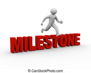3d man jumping over milestone
