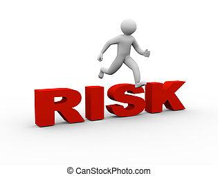 3d man jumping over risk