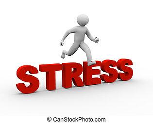 3d man jumping over stress