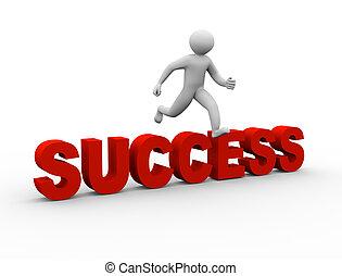 3d man jumping over success