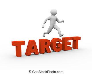 3d man jumping over target