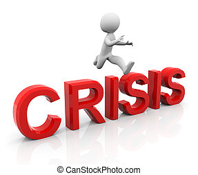 3d man jumping over the text 'crisis'.