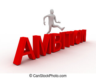 3d man jumping over word ambition