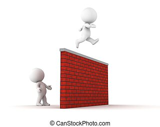 3D Man jumps over wall - A 3D guy jumps over a tall brick...