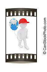 3d man keeps balloon of earth. Global holiday. The film strip