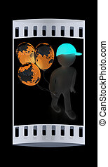 3d man keeps balloons of earth. Global holiday. The film strip
