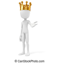 3d man king with a gold crown on white background