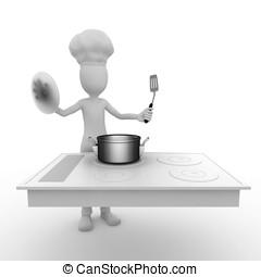 3d, man, kok, met, het koken, oppervlakte