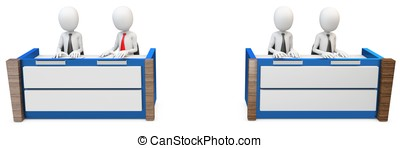 3d man lawyers at trial jury on white background