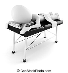 3d man, laying on a massage table, isolated on white...