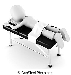 3d man, laying on a massage table, isolated on white background